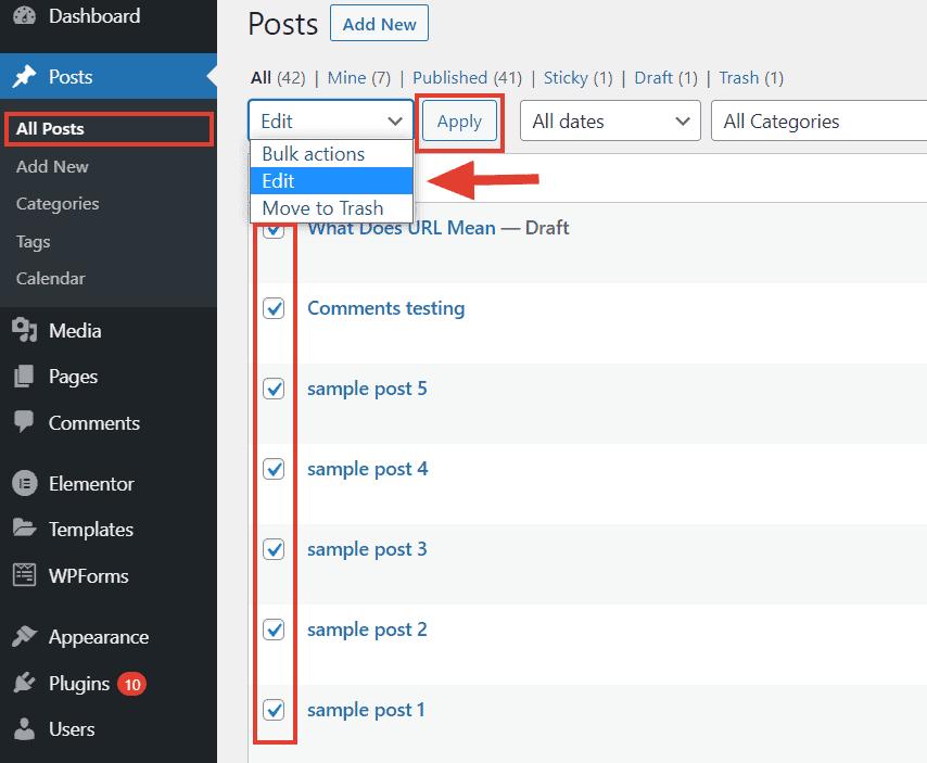 wordpress bulk edit