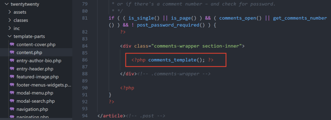 calling comments_template function