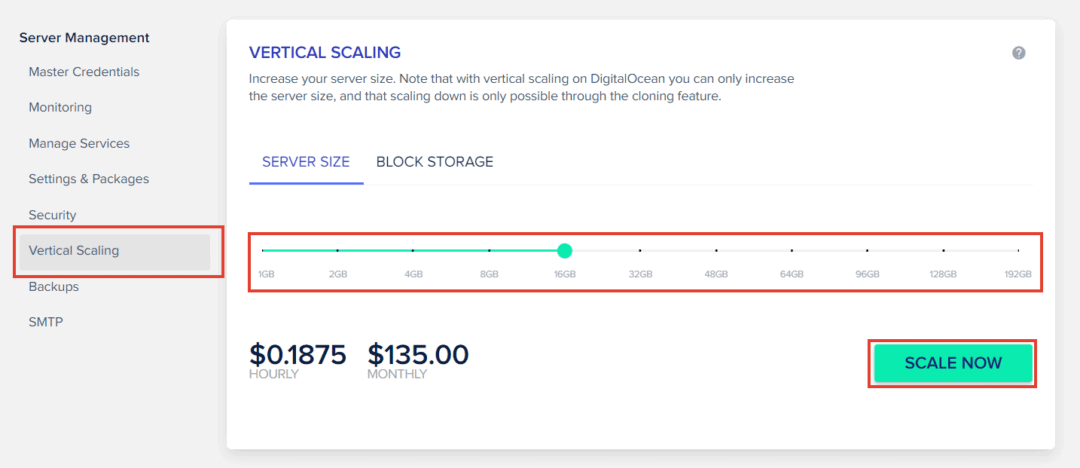 cloudways scaling options
