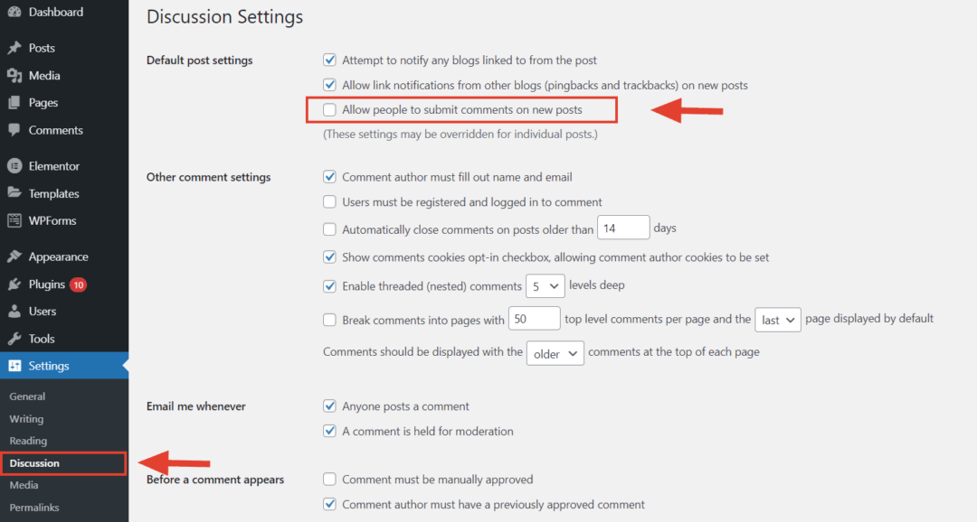 disable comments - wordpress discussion settings