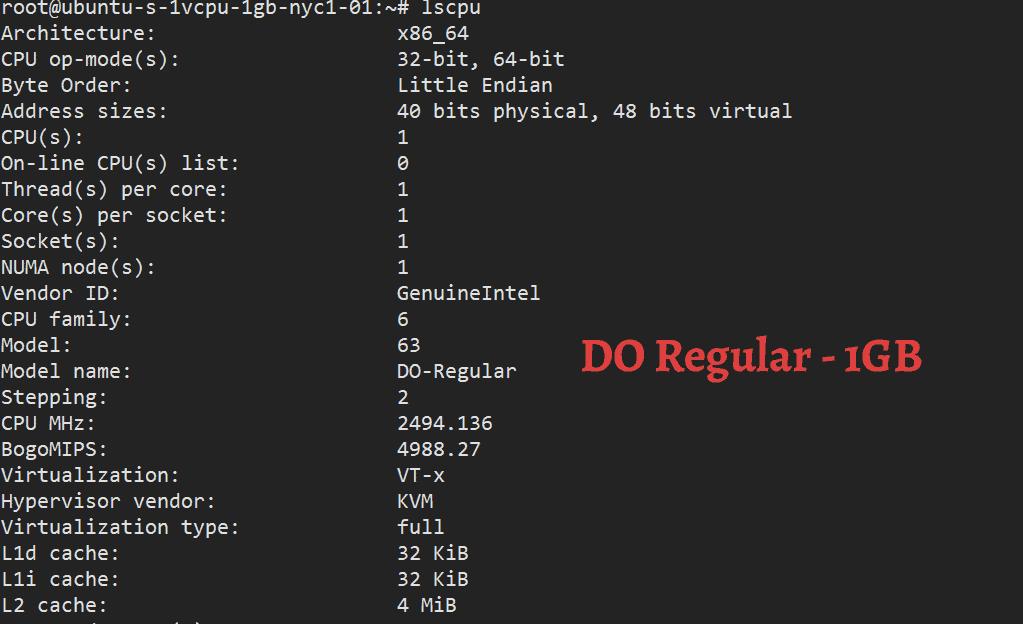 lscpu command DigitalOcean