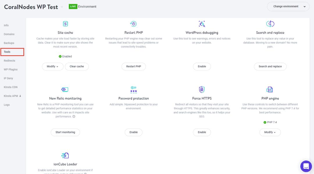 kinsta site tools