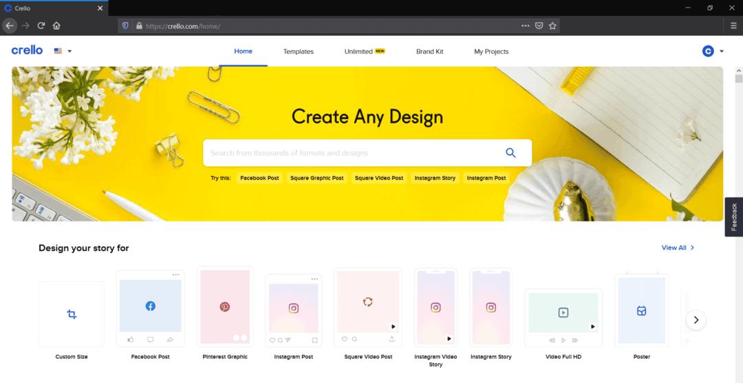 crello home page