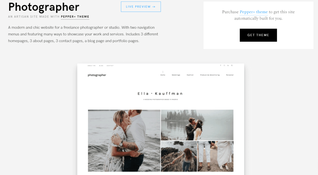 Pepper+ Photography theme from Artisan Themes
