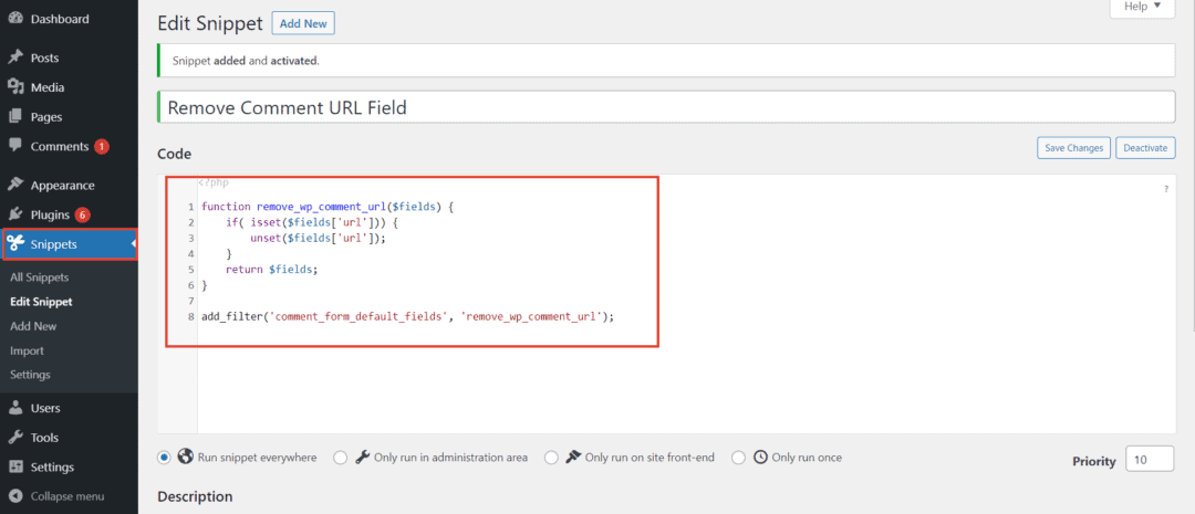 using Code Snippets plugin to remove URL field