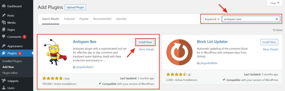 installing Antispam Bee from WordPress Plugins directory