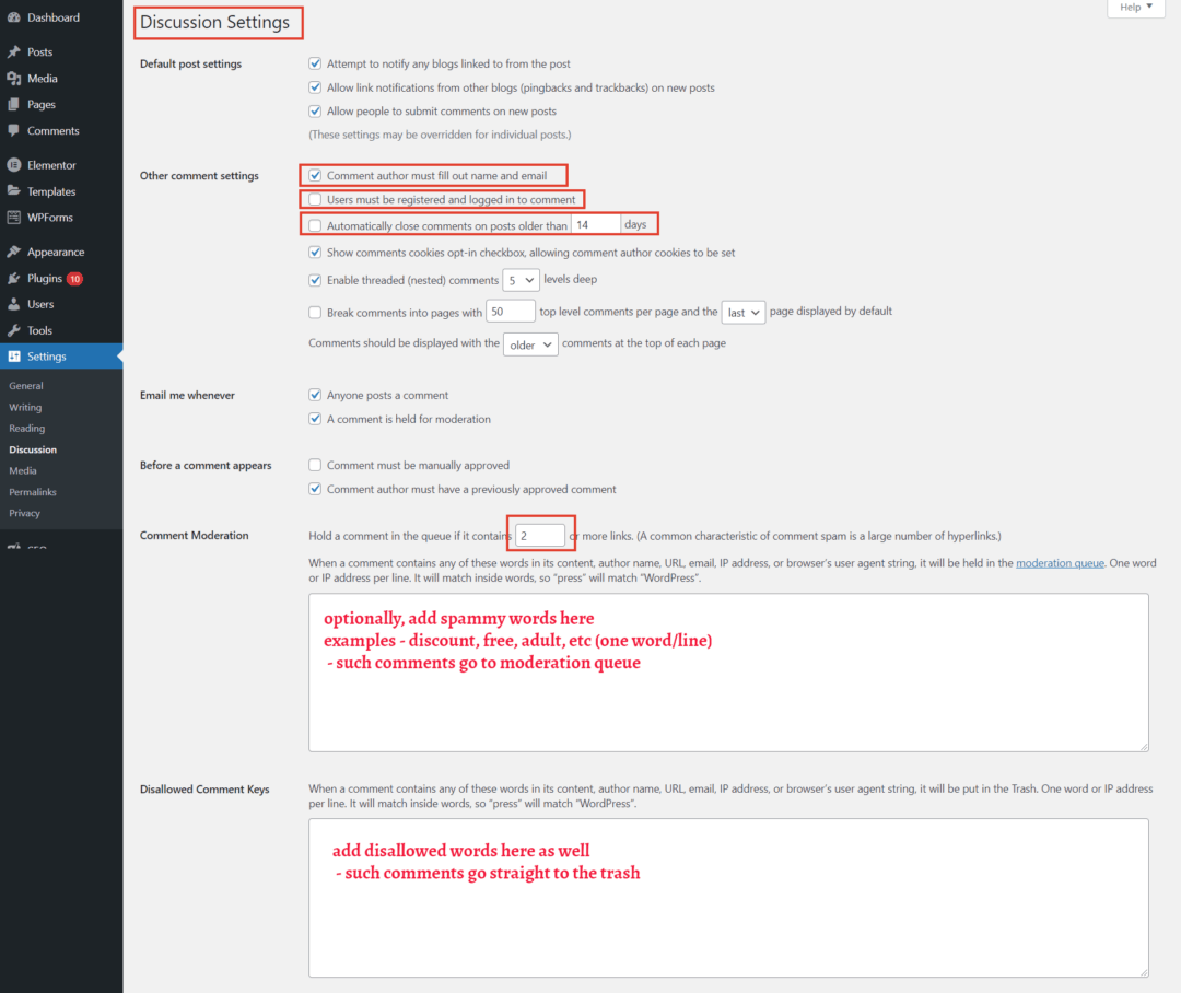 wordpress discussion settings to prevent spam
