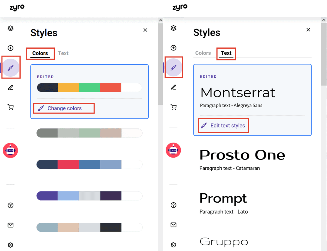 setting website styles - colors and fonts in Zyro