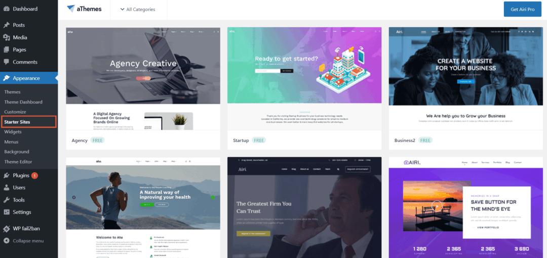 airi theme - starter sites