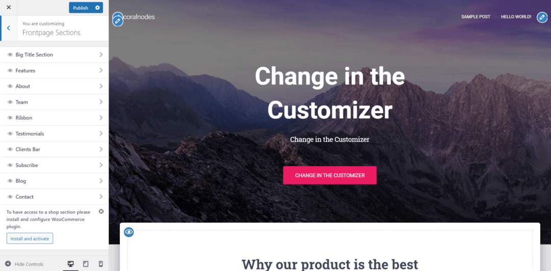 frontpage sections in hestia customizer