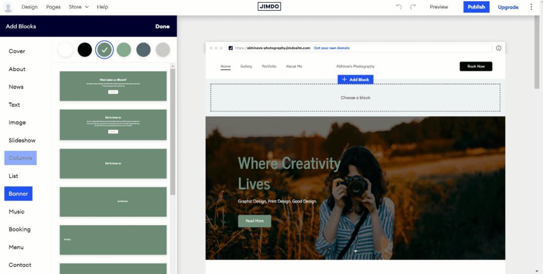 jimdo editor interface