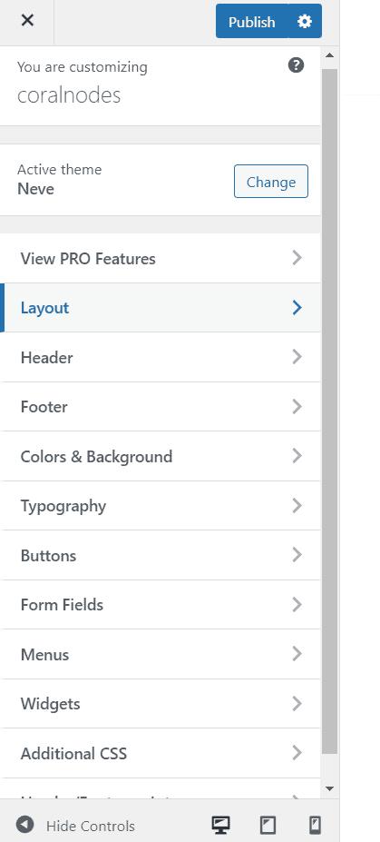 neve customizer menu
