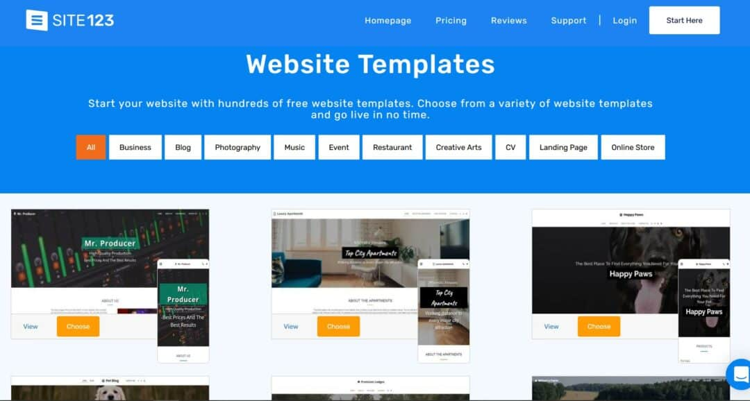 site123 templates