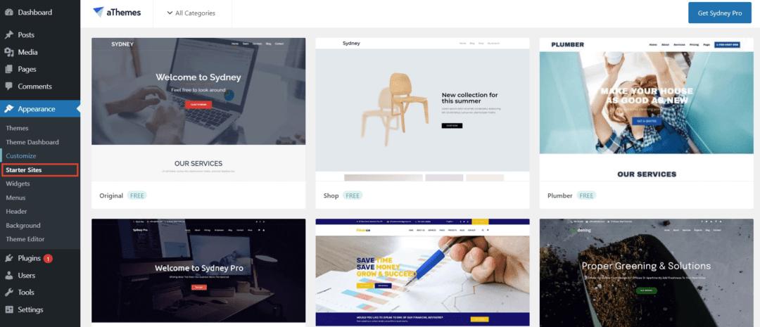sydney theme - starter sites