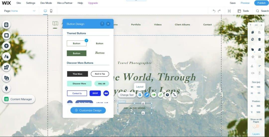 wix editor interface