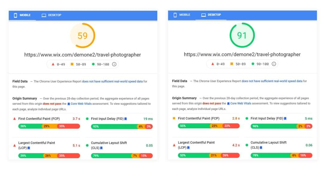 wix pagespeed score difference between desktop and mobile