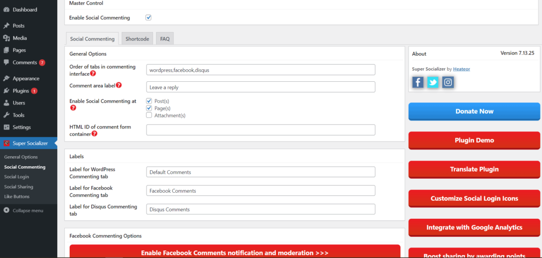 Super Socializer settings page