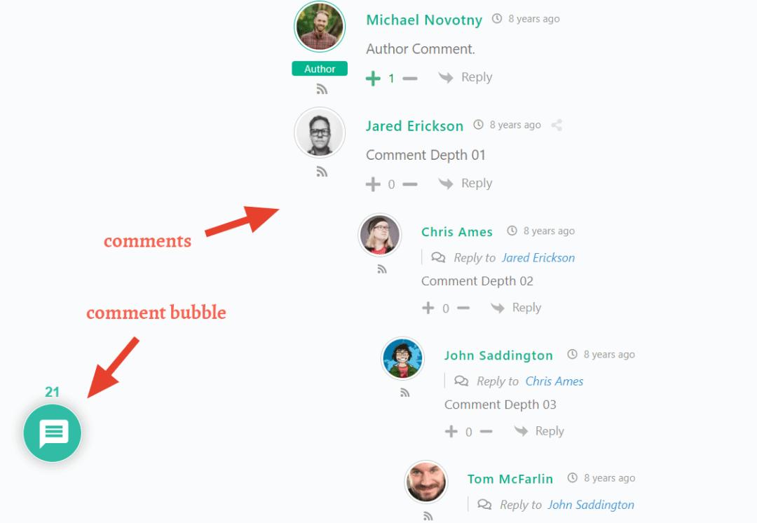 wpdiscuz comments & comment bubble