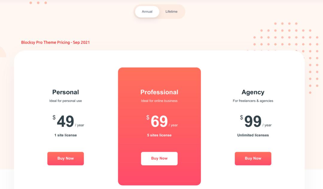 Blocksy Pro Pricing as in September 2021