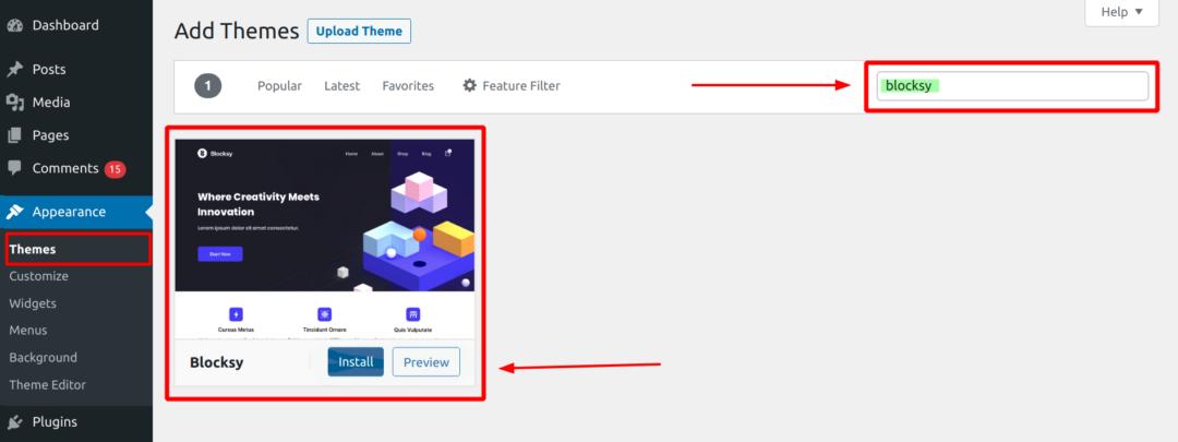 install Blocksy theme from WordPress admin