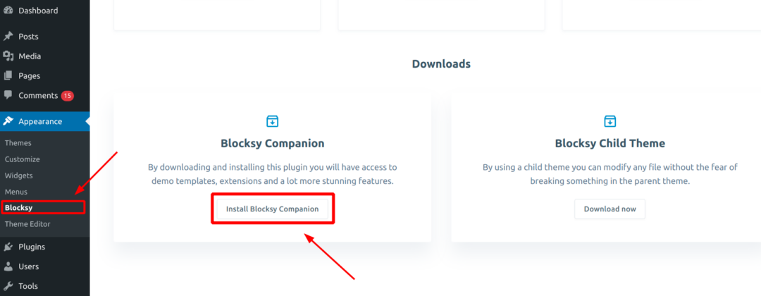 install blocksy companion plugin