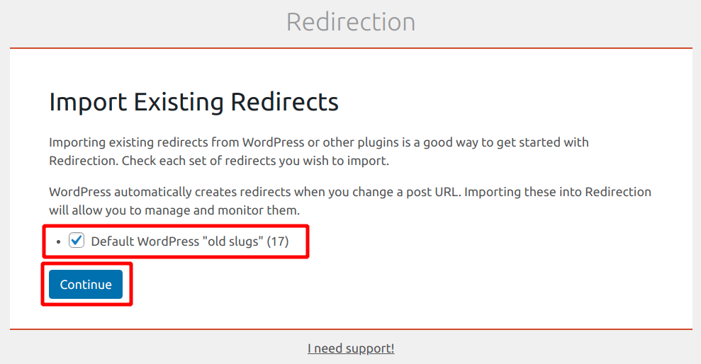 importing existing redirects