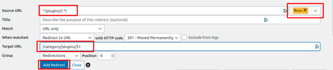 creating regex redirects
