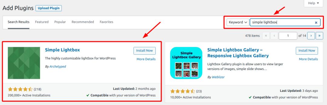 installing Simple Lightbox plugin
