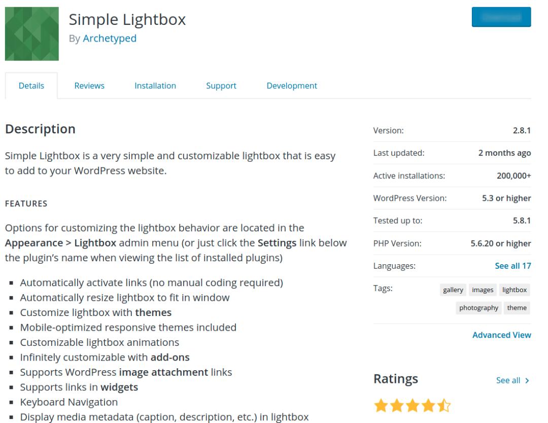 Simple Lightbox plugin on WordPress repository