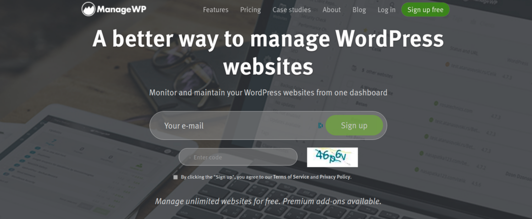 managewp website home page