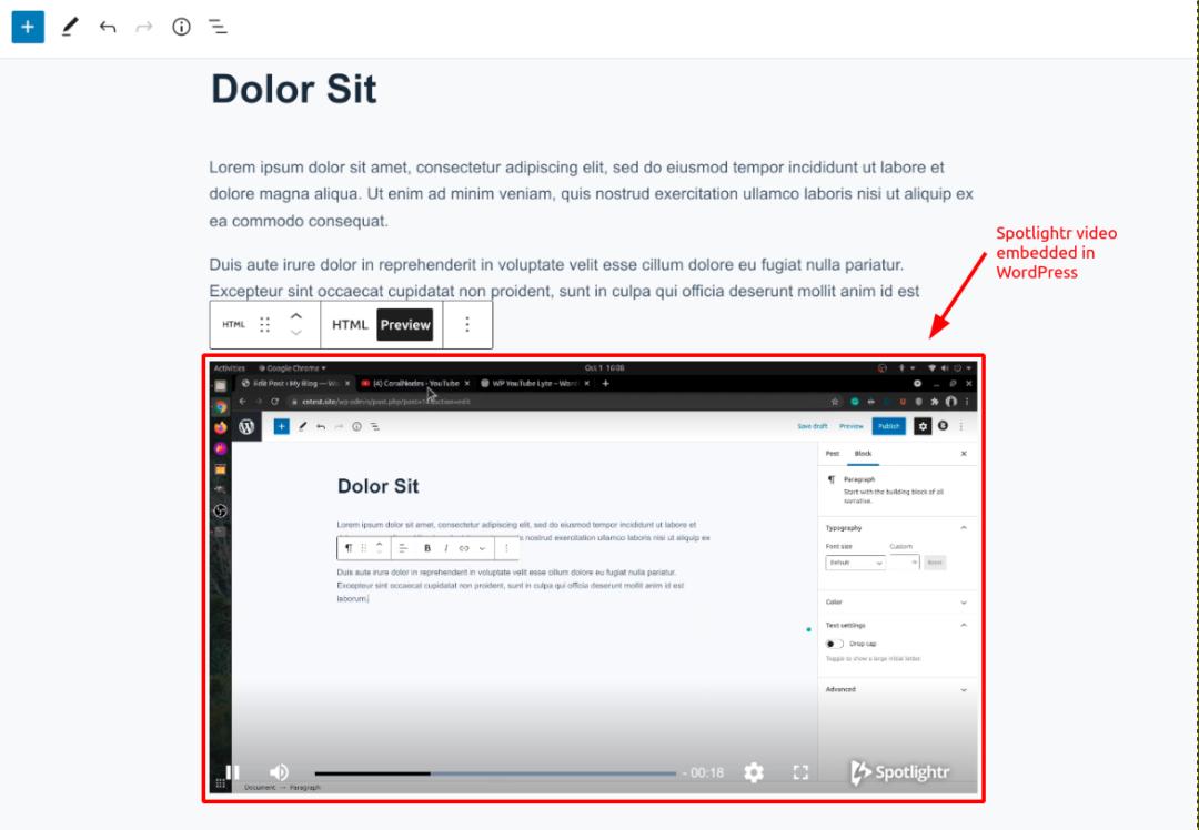Spotlightr video embedded into WordPress Editor