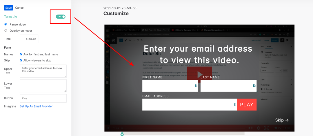adding email signup form in Wistia video