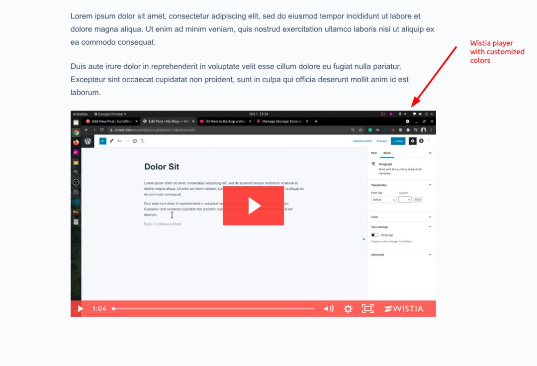 Wistia player embedded in WordPress