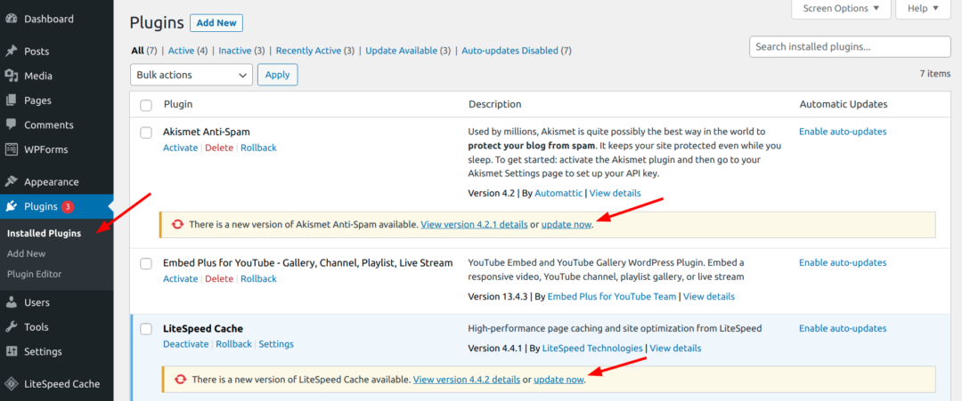 update now link on WordPress plugins page