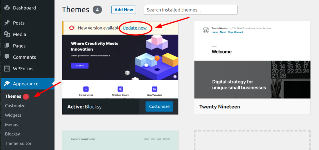 Update Now link for WordPress themes