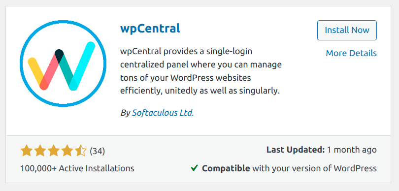 wpCentral plugin install