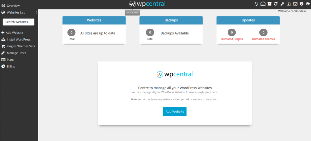wpCentral user interface